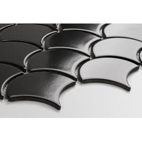 Flabellum - black matt mosaic tiles