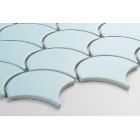 Flabellum light blue matt mosaic tiles