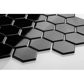 Hexagon black glossy large