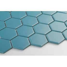 Hexagon peacock blue matt large