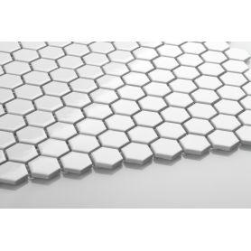 Hexagon white glossy small