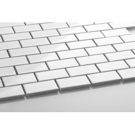 Mini brick ceramic mosaic white glossy