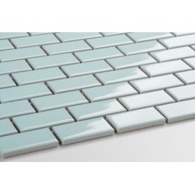 Mini brick ceramic mosaic blue glossy