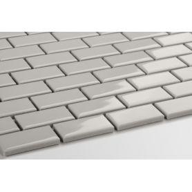 Mini brick ceramic mosaic light gray glossy