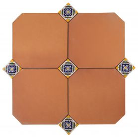 Mexican Terracotta Guadalajara - octagons with coloured ceramic tiles