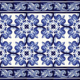 Mariposa - Set of mexican tiles with a border