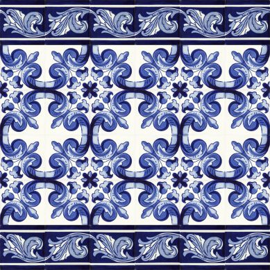 Mariposa - A set of Mexican tiles with a border
