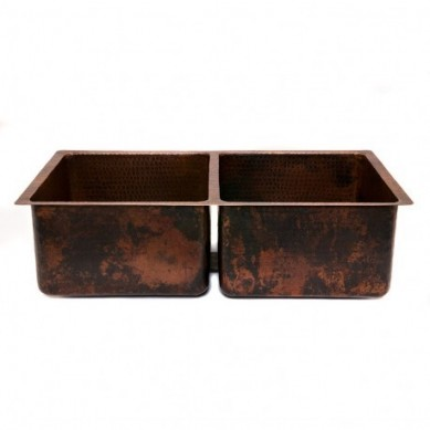 Pedro - Kitchen double-chamber copper sink